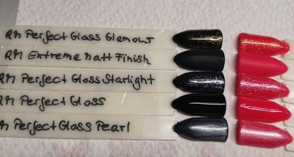 RM 4x Perfect Gloss Glanz Gel non Sticky 10ml + Extreme Matt Finish 5ml im Set